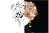 Woman Floral Silhouette Poster