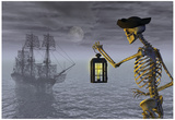 Skeleton Pirate With Ghost Ship Posters