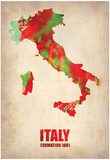 Italy Watercolor Map Posters