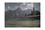 A View of a Church with the Alps Further in the Distance Photographic Print by Hans Hildenbrand