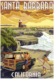 Santa Barbara, California - Woody and Lighthouse Posters