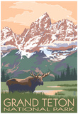 Grand Teton National Park - Moose and Mountains Plakat af  Lantern Press