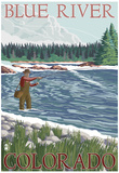 Blue River, Colorado - Fisherman Wading, c.2008 Prints