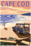 Cape Cod, Massachusetts - Woody on Beach Posters