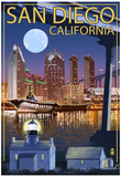 San Diego, California - Skyline at Night Prints