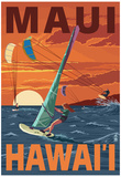 Maui, Hawaii - Windsurfers Scene at Sunset Poster