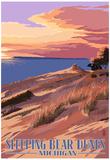 Sleeping Bear Dunes, Michigan - Dunes Sunset and Bear Posters