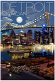 Detroit, Michigan - Skyline at Night Prints