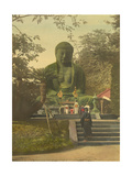 Japanese People Worship at a Giant Bronze Statue of the Great Buddha Photographic Print by Tamotsu Enami