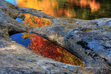 Autumn Colors Reflected in Pools of Water on a Rocky River Bank Photographic Print by Robbie George
