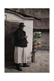 A Peasant in the Bakony Forest Area Stands in His Farmyard Photographic Print by Hans Hildenbrand