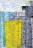 Grey, Teal And Yellow Abstract Art Painting Poster