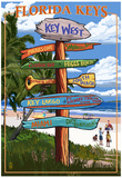 Key West, Florida - Destination Signs Posters