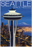 Space Needle Aerial View - Seattle, WA Posters