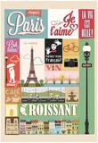 Typographical Retro Style Poster With Paris Symbols And Landmarks Kunstdrucke