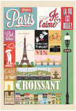 Typographical Retro Style Poster With Paris Symbols And Landmarks Print