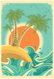 Vintage Nature Sea With Waves And Sun Posters