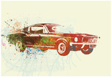 Ford Mustang Watercolor Poster