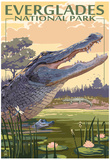 The Everglades National Park, Florida - Alligator Scene Poster