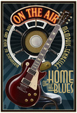 Memphis, Tennessee - Guitar and Microphone - Blue - Poster