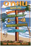 Waikiki, Oahu, Hawaii - Sign Destinations Posters