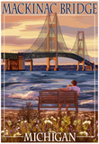 Mackinac Bridge and Sunset, Michigan Prints