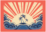 Paradise Island On Grunge Paper Background With Sun Posters