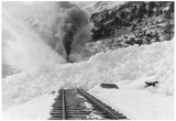 Avalanche of snow across railroad tracks Photograph - Alaska Print