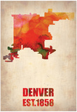Denver Watercolor Map Posters by  NaxArt