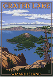 Crater Lake, Oregon - Wizard Island View, c.2009 Posters