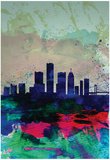 Detroit Watercolor Skyline Posters