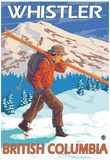 Skier Carrying Snow Skis, Whistler, BC Canada Posters