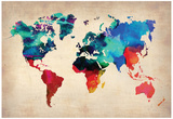 World Watercolor Map 1 Print by  NaxArt
