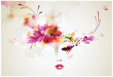 Beautiful Fashion Women With Abstract Design Elements Affiches