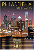 Philadelphia, Pennsylvania - Skyline at Night Prints