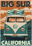 Big Sur, California - VW Van Blockprint Billeder