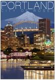 Portland, Oregon - Skyline at Night Prints