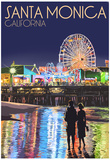 Santa Monica, California - Pier at Night Prints