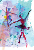 Two Dancing Ballerinas Watercolor 2 Affiches