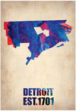 Detroit Watercolor Map Affiches