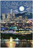 Los Angeles, California - Los Angeles at Night Posters
