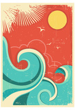 Vintage Tropical Background With Sea Waves And Sun Prints