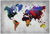 World Watercolor Map 12 Affiches