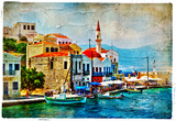 Beautiful Kastelorizo Bay (Greece, Dodecanes) - Artwork In Painting Style Photographie