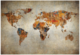 Grunge Map Of The World Posters
