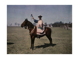 Portrait of a Scikos Herdsman Seated on His Horse Photographic Print by Hans Hildenbrand