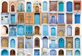 Very Old, Blue And Golden Doors Of Morocco Kunstdrucke