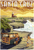 Santa Cruz, California - Woody and Lighthouse Poster