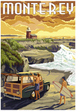 Monterey, California - Woody on Beach Posters