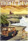 Monterey, California - Woody on Beach Posters